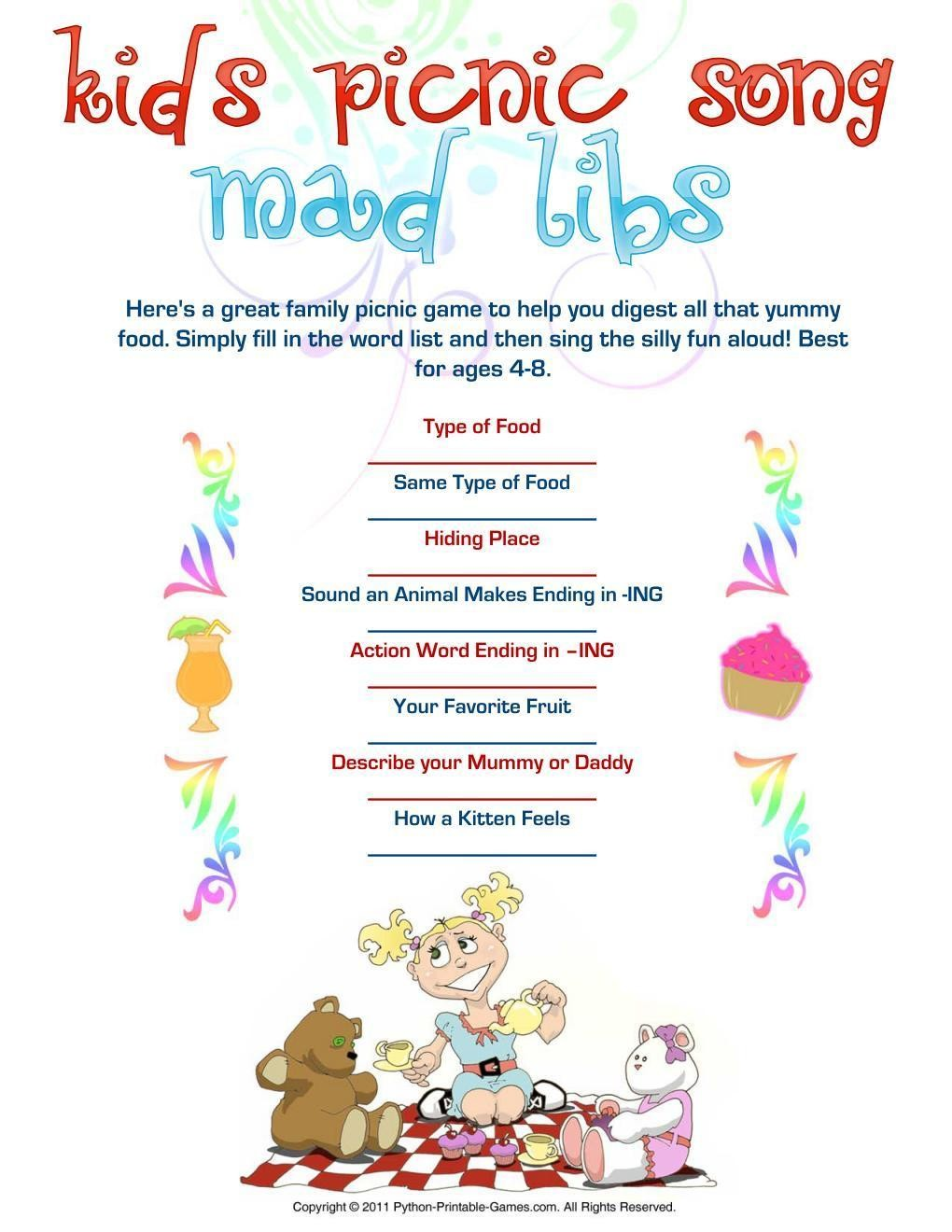 Picnic Games: Kids' Picnic Song Mad Libs
