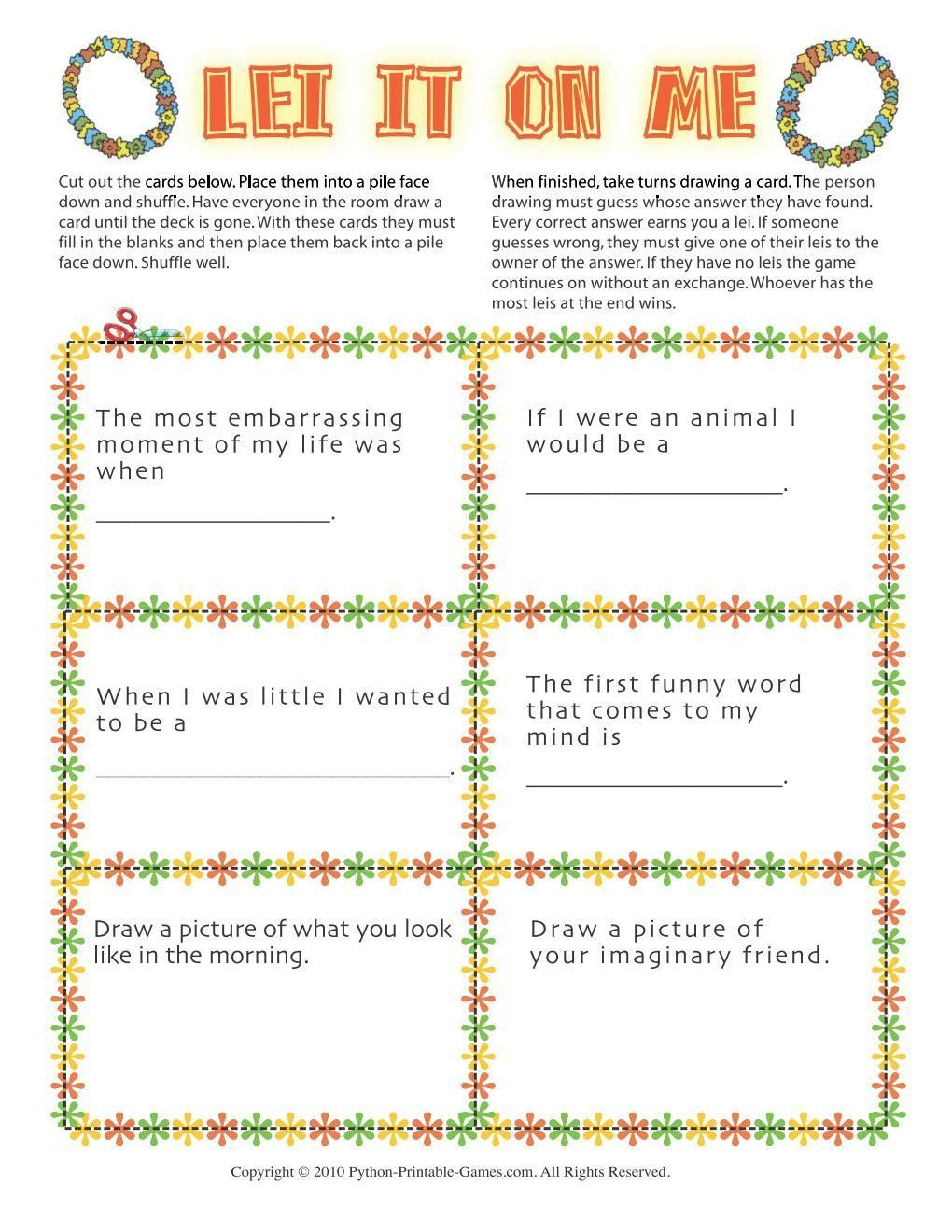 graphic about Printable Luau Party Games called Hawaiian Luau Celebration: Lei It Upon Me