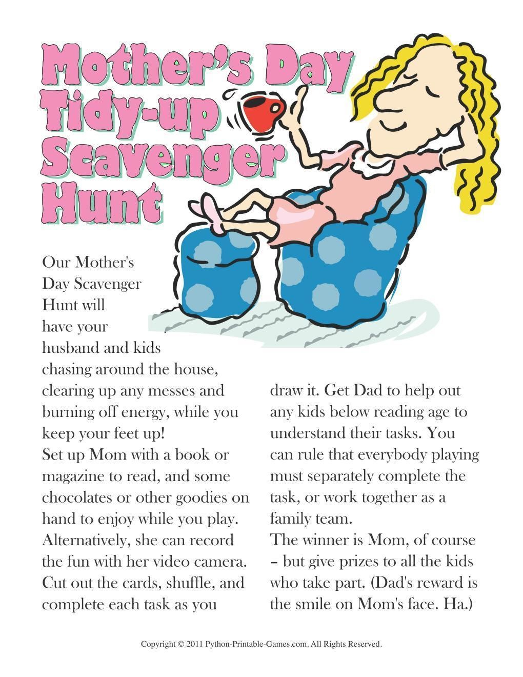 Mother's Day: Tidy Up Scavenger Hunt