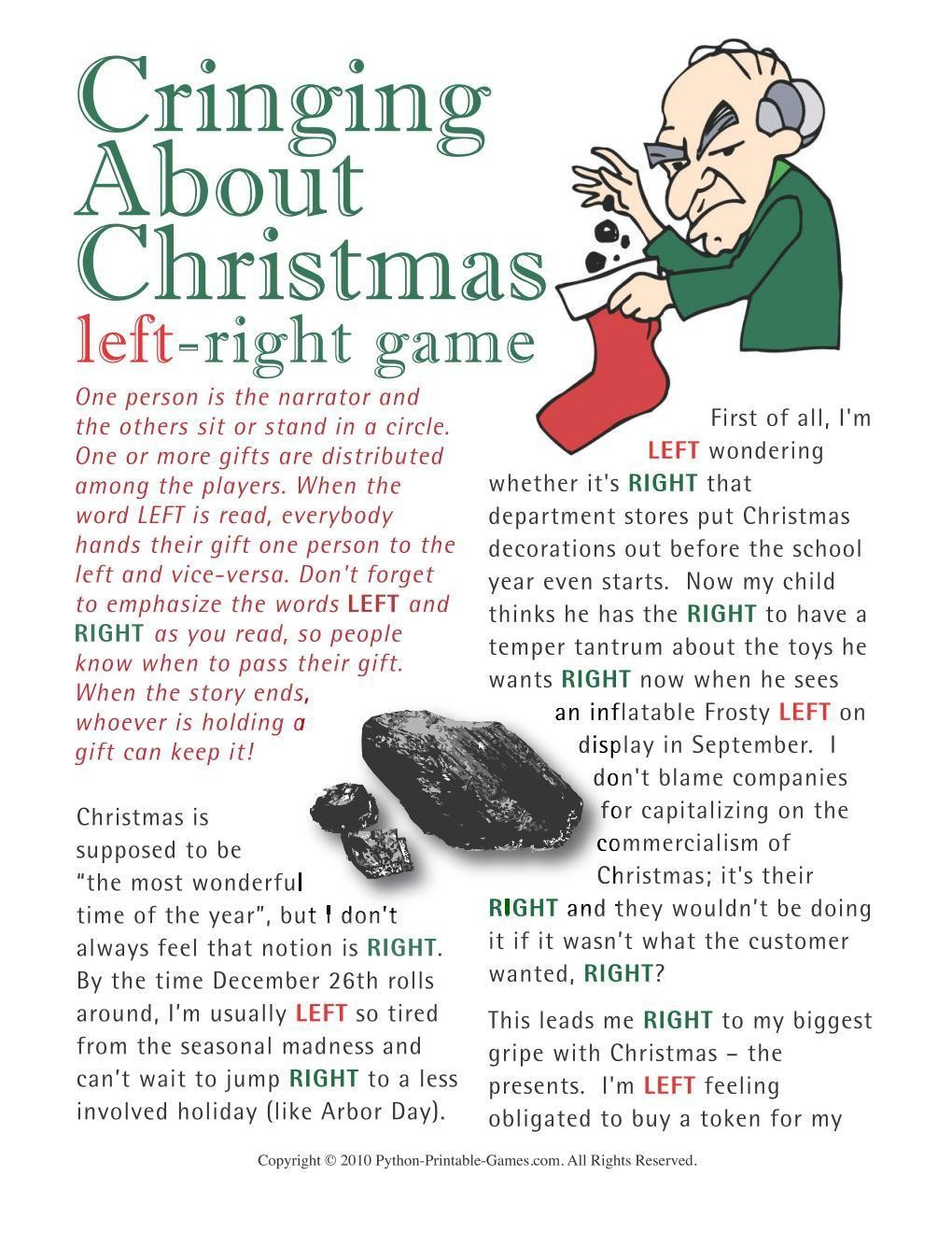 photograph about Christmas Left Right Game Printable identified as Xmas: Cringing Over Xmas Still left-Straight