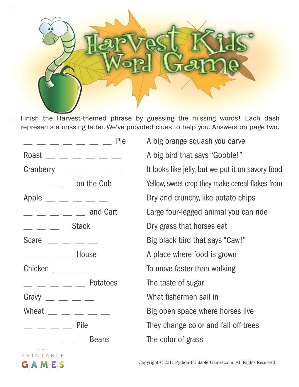 graphic about Word Game Printable referred to as Tumble Harvest: Small children Phrase Recreation