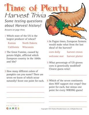 image relating to Autumn Trivia for Seniors Printable named Printable Drop Harvest Video games - Print Game titles Currently