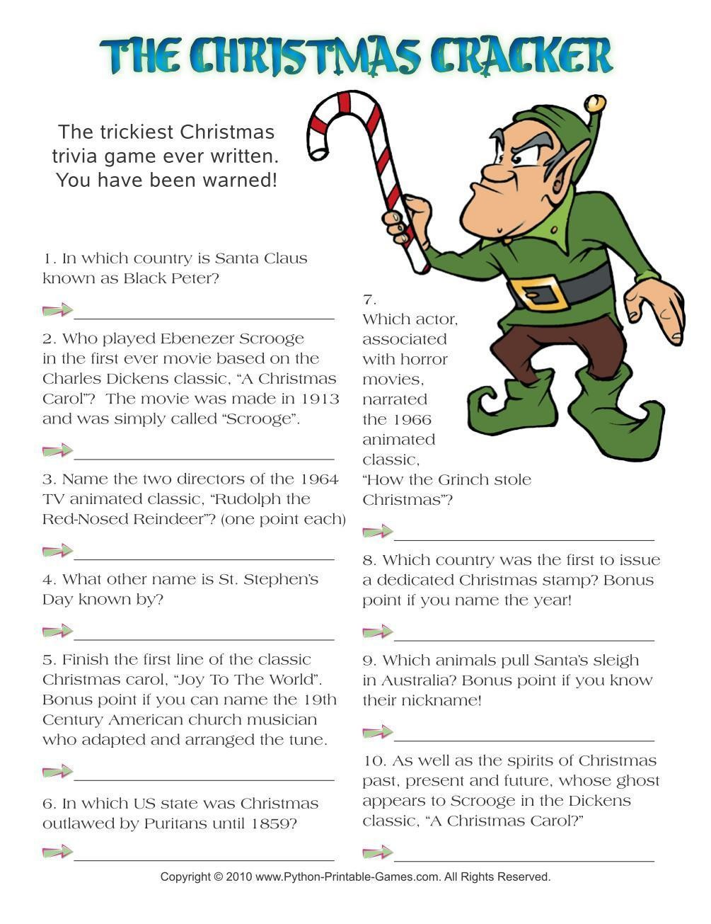 Christmas: Cracker Hard Trivia