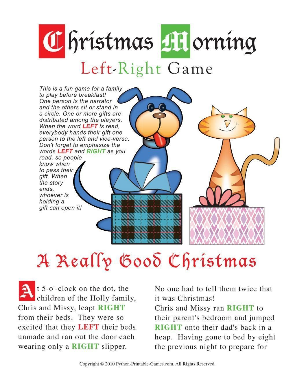 photograph relating to Left Right Games Printable known as Xmas: Xmas Early morning Remaining-Directly Match