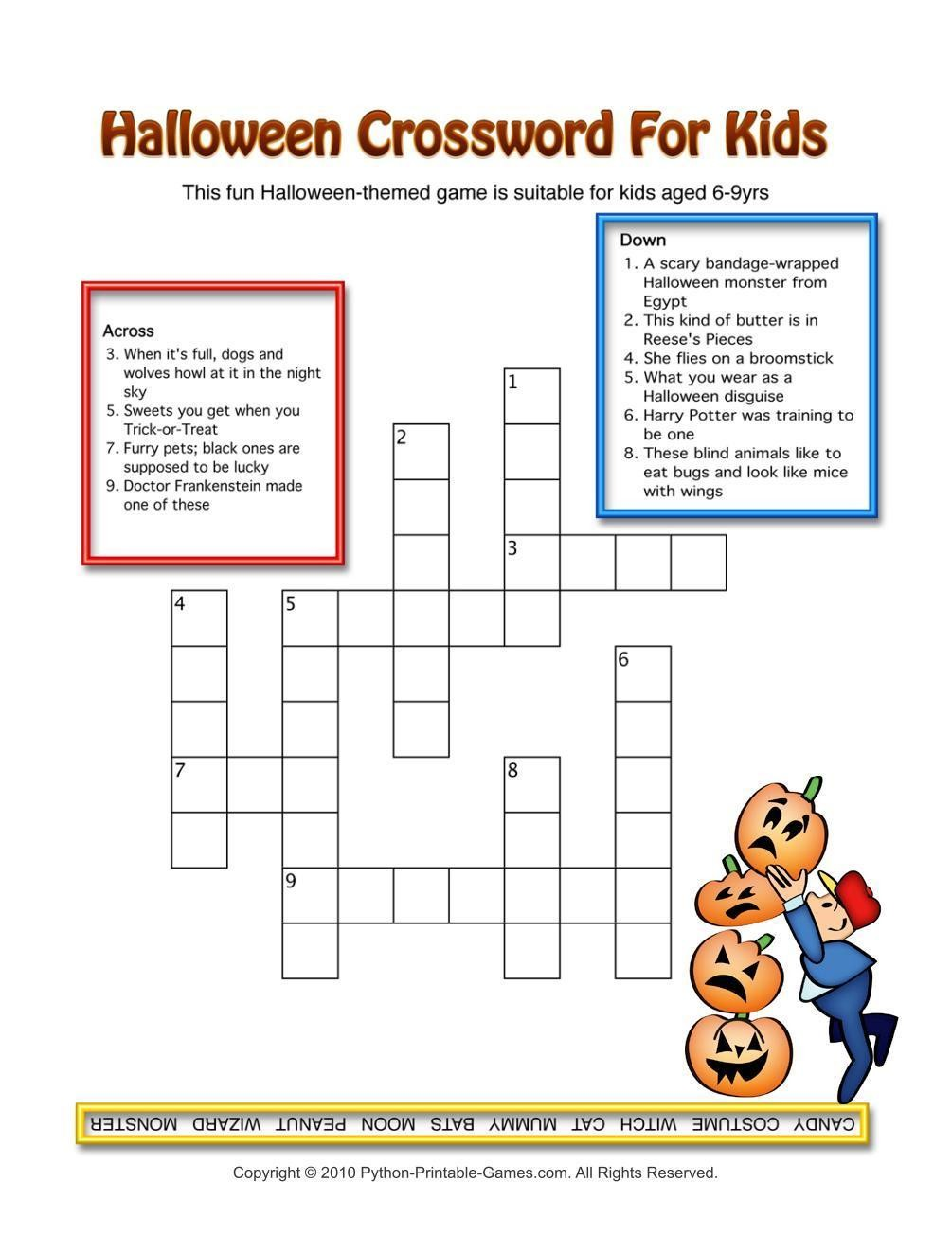photograph regarding Halloween Crossword Puzzles Printable known as Halloween: 3 Crossword Puzzles