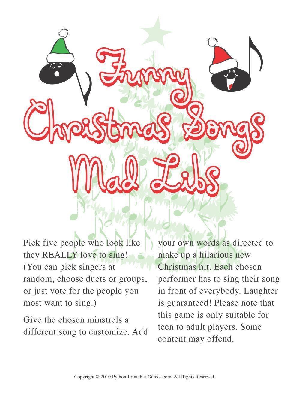 picture regarding Christmas Mad Libs Printable titled Xmas: Xmas Amusing New music Crazy Libs