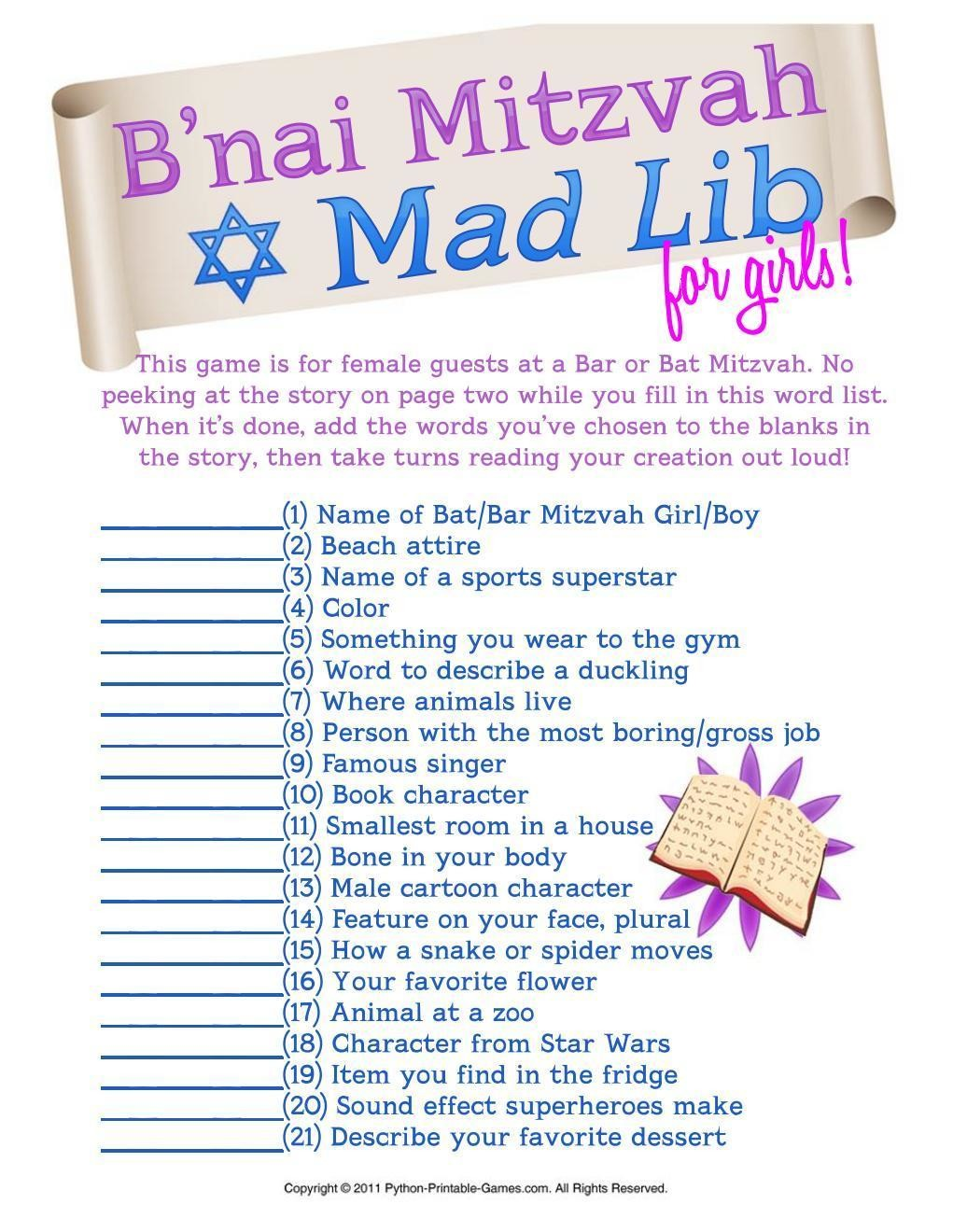 graphic about Printable Mad Libs for Teens called Bar Bat Mitzvah: Crazy Libs for Women