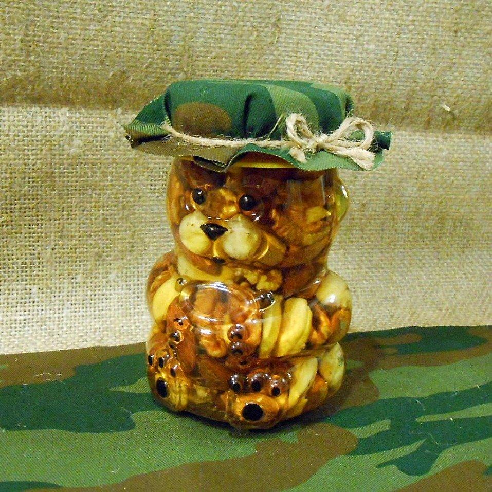 """Орехи в меду """"Мишка военный"""", 295 мл."""