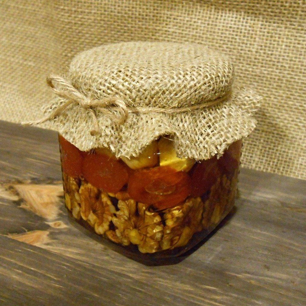 Орехи и сухофрукты в меду (рядами), 250 мл.