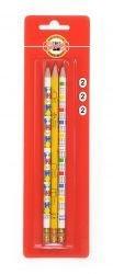 Pencil Graphite with Eraser Eraser Koh-I-Noor Set of 3