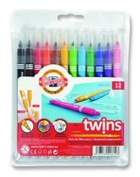 Pens Twin Tip Fibre Set of 12 Pcs