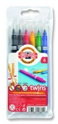 Pens Twin Tip Fibre Set of 6  Pcs