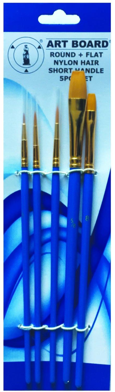 Brush Set 5pc Nylon Blue Handle