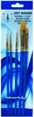 Brush Set 5pc Nylon Blue Handle