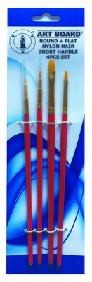 Brush Set 4pc Nylon Red Handle