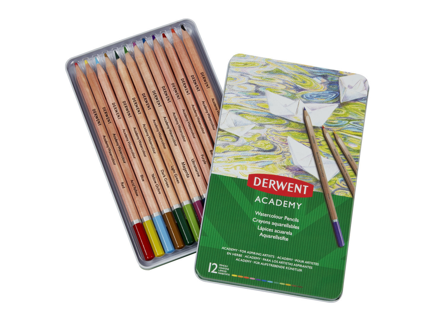 Pencils Watercolour Tin Derwent Academy Set of 12