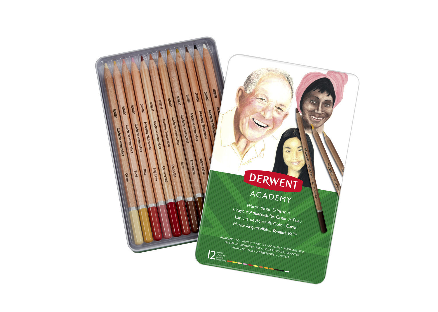 Pencils Watercolour Skintone Tin Derwent Academy Set of 12