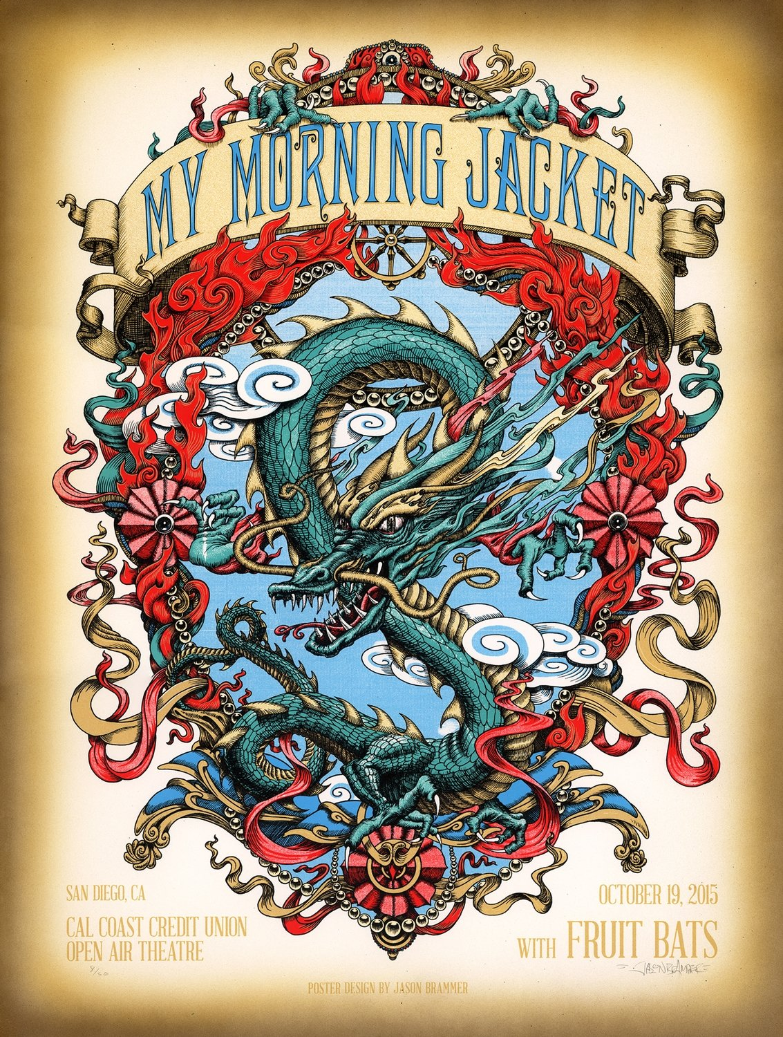 Hand-Embellished Artist Edition poster: My Morning Jacket, San Diego 2015