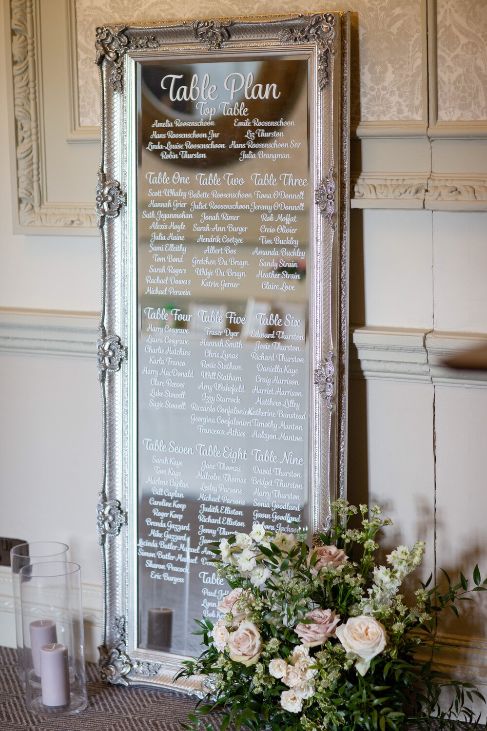 Table Plan - Silver Antique Style Leaner Mirror, With Personalised Table Plan