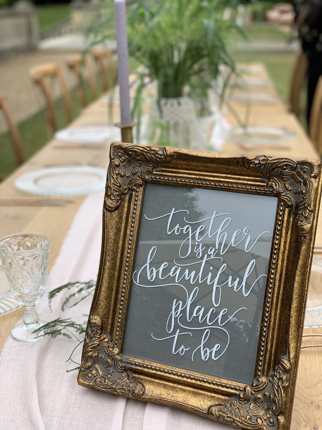 "Decorative Gold Frame And Sign ""Together is A Beautiful Place To Be"""