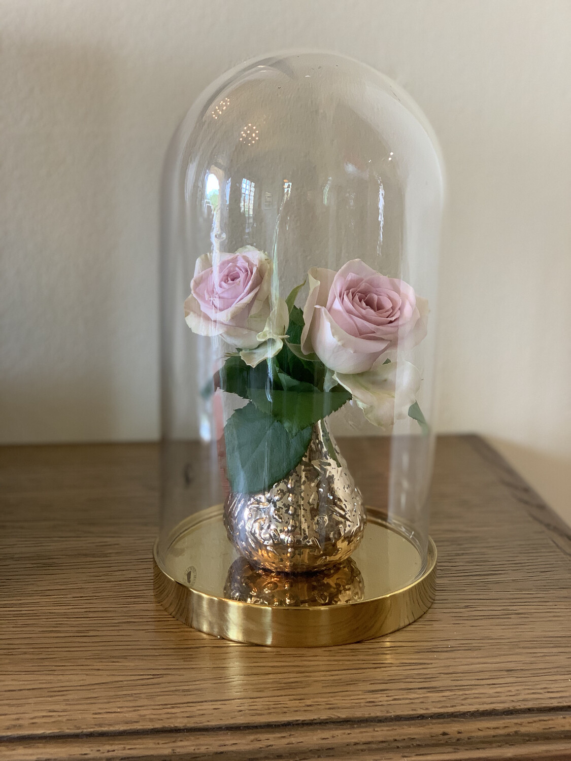 Glass Bell Jar With Gold Bud Vase