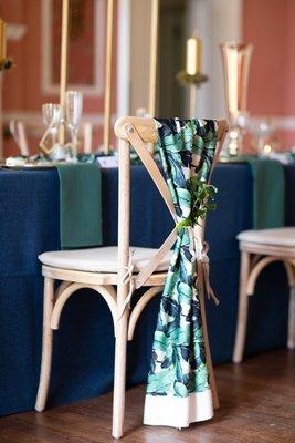 Botanical silk chair fabric