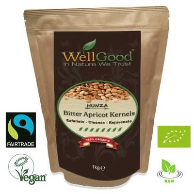 Hunza Raw Bitter Apricot Kernels Seeds Organic and Fairtrade