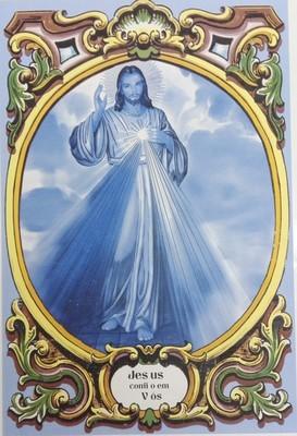 Painel Jesus Eu Confio em Vós Azul c/ cercadura a cores