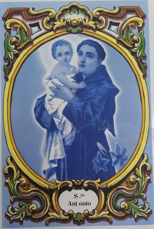 Painel Sto. António azul c/ cercadura a cores