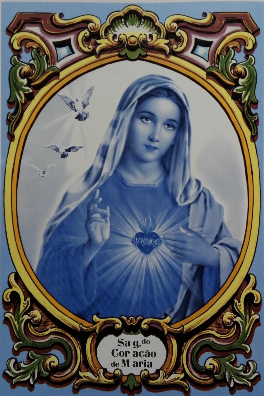 Painel Sagrado Coração de Maria Azul c/ cercadura a cores