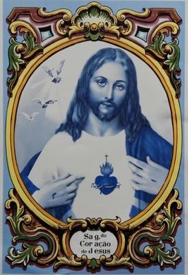 Painel Sagrado Coração de Jesus Azul c/ cercadura a cores