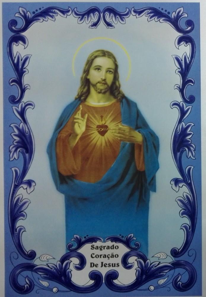 Painel Sagrado Coração de Jesus c/ cercadura rectangular