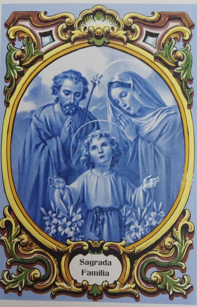 Painel  Sagrada Familia azul c/ cercadura a cores