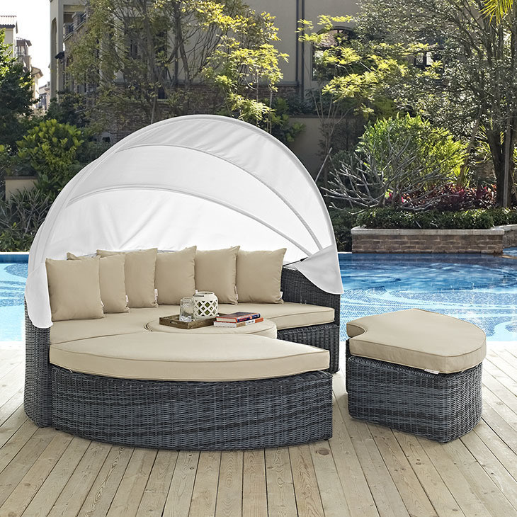 Make your backyard movie night a little cozier with a piece of pool and patio furniture like the North Avenue Daybed from Chicago Living. It also has a canopy to shade yourself during the day.