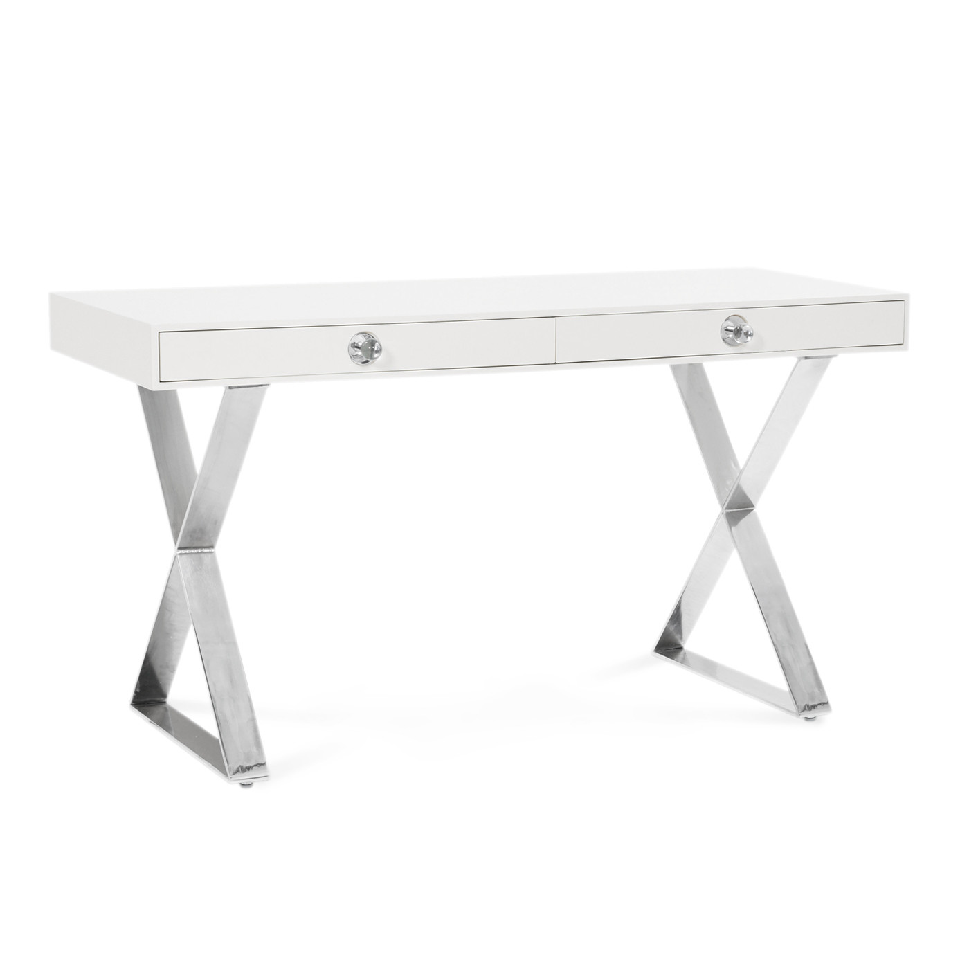 Channing Desk | White with Nickel