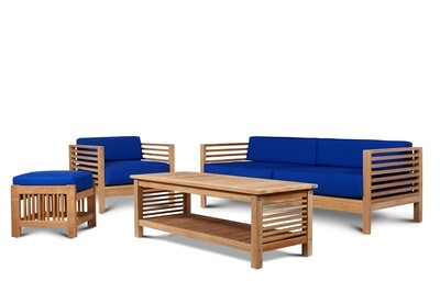 Summer Outdoor Teak Sofa Set | Blue or White