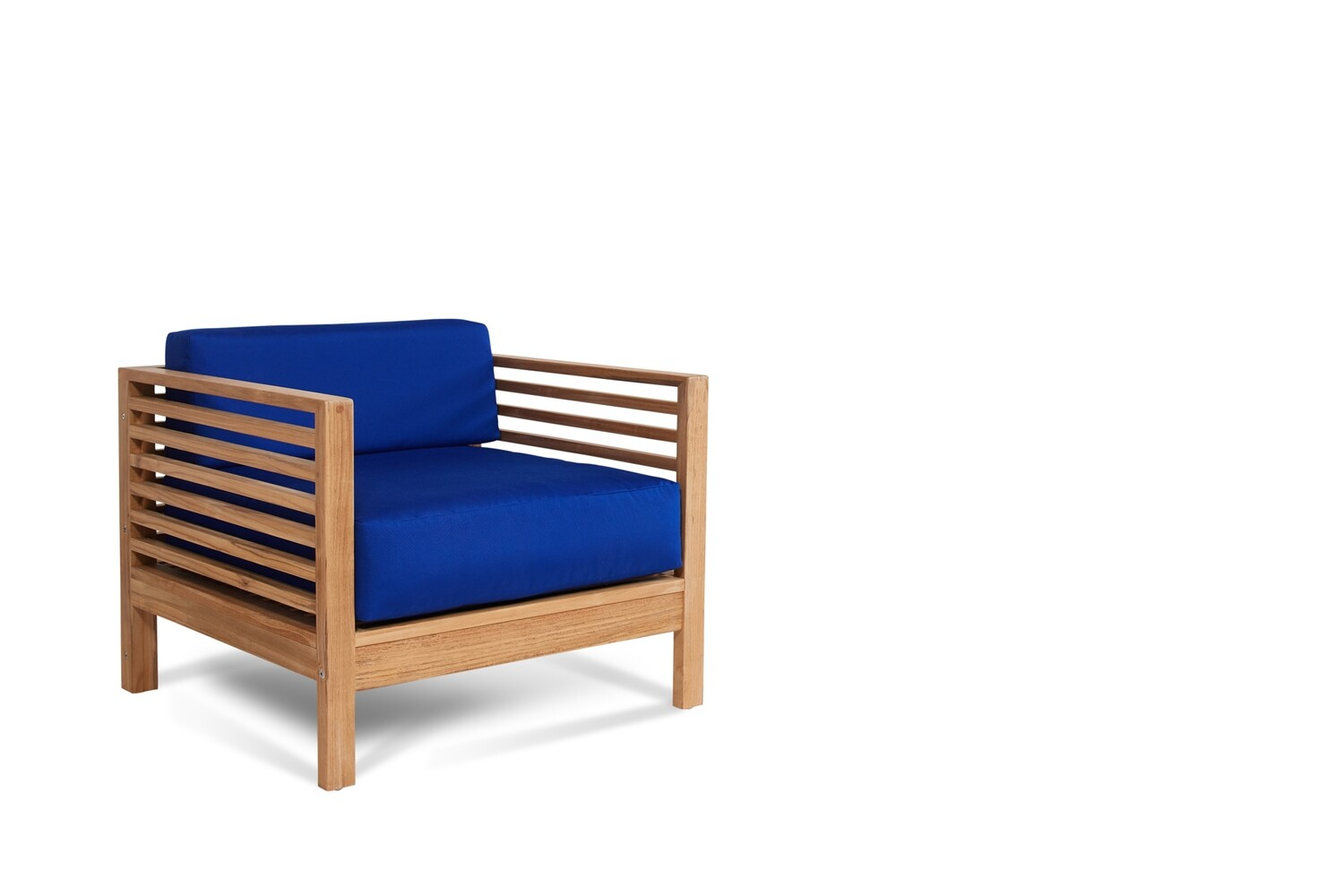 Summer Outdoor Teak Club Chair | Blue or White