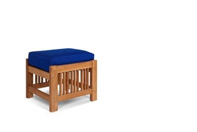 Summer Outdoor Teak Ottoman | Blue or White