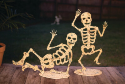 Halloween Glow in the Dark Skeletons on Bases | Set of 2