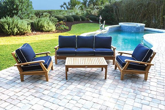 South Beach Teak Reclining Sofa Set