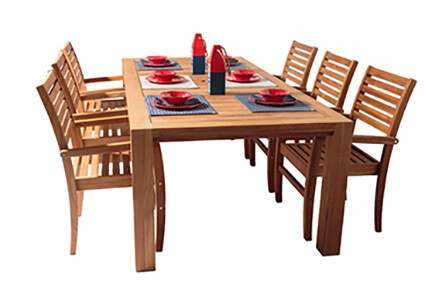 7 Piece Deluxe Teak Dining Set