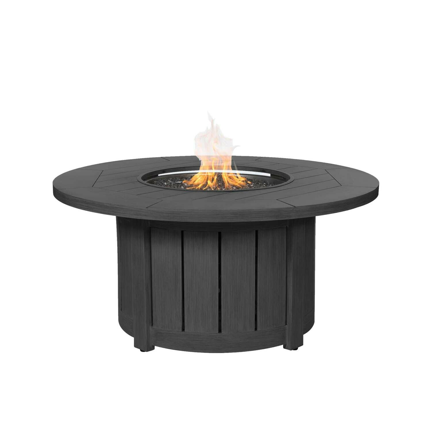 "Aluminum 50"" Round Fire Pit Table - Smoke"