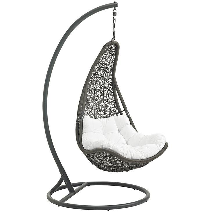 Resolve Swing Lounge Chair | Gray | White Cushion
