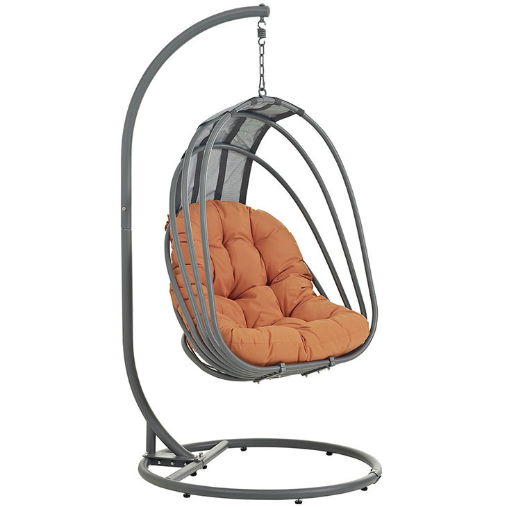 Whisk Swing Chair with Orange Cushion