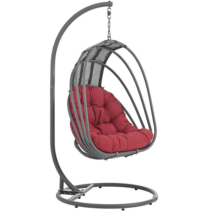 Whisk Hanging Swing Chair | Red Cushion