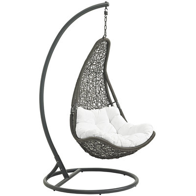 Resolve Swing Lounge Chair | Gray | White Cushion