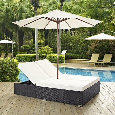 Hinsdale Patio Double Chaise with Umbrella | 7 Colors