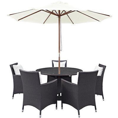 Hinsdale Patio 7 Piece Round Dining Set with Umbrella