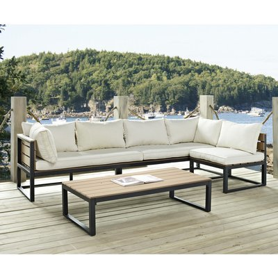 Lakeshore 4 Piece Patio Set with Natural Cushions
