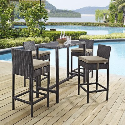 Hinsdale Patio 5 Piece Long Pub Set | 6 Color Options